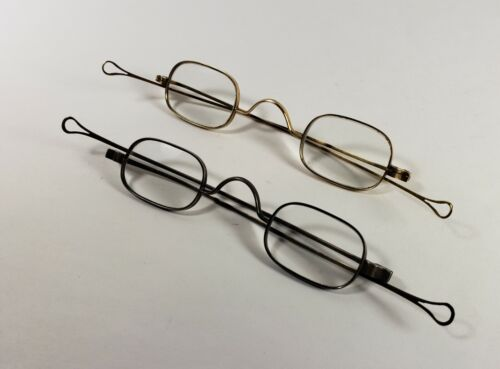 14K solid gold (marked) & coin silver antique eyeglasses. Matching pair. Nice!