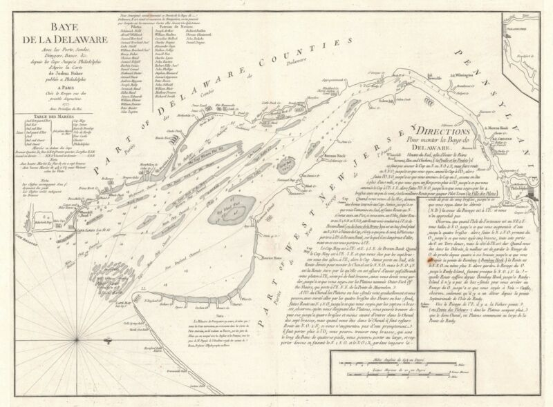 1777 Le Rouge Nautical Chart or Maritime Map of Delaware Bay