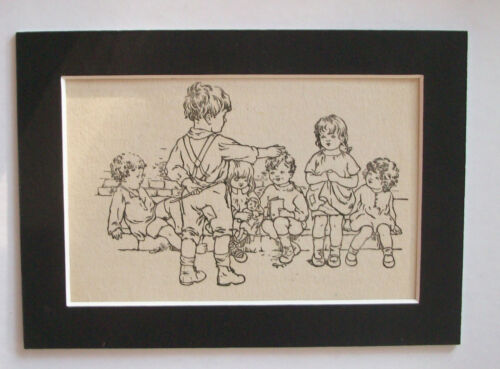 Kids Pack Leader Print 1930s Bookplate Child Wells Gardner Darton 5x7 Matted