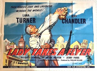 The Lady Takes A Flyer Original Quad Film Poster 1958 Lana Turner Jeff Chandler