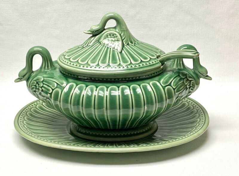 Vintage Porta Green Swan Ceramic Soup Tureen, Lid, Ladle and Underplate Portugal