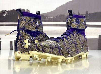 1289764-500 Under Armour C1N MC LE Paisley Football Cleats Cam Purple Gold