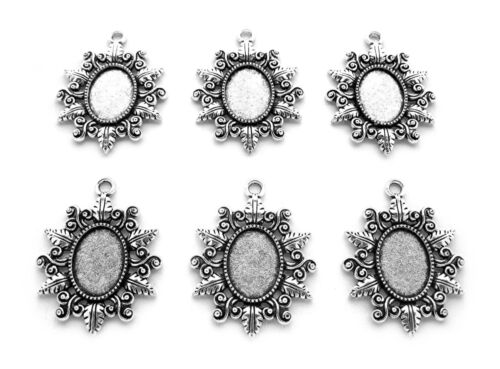 6 Antiqued Silvertone CLARISSA Style 18mm x 13mm CAMEO PENDANT Earrings Settings