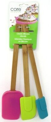 Core Kitchen 3 Piece Classic Silicone Utensils Bamboo 12
