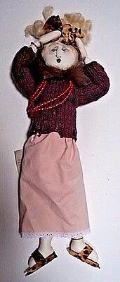 """Folk Art Handmade Cloth Doll 18"""" Jill Krasner Doll """"Harriet the Hussy..."""" Signed"""