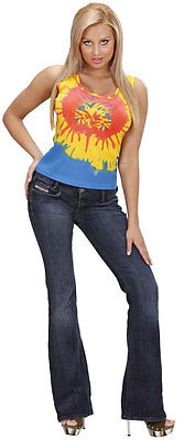 Hippie Batik-Top für Damen NEU - Damen Karneval Fasching Verkleidung Kostüm (Neu Karneval Kostüme)