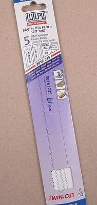 5x Säbelsägeblätter Wilpu 3016/225 BiMetal 225x19x0,9mm TwinCut Metal Holz+Nägel