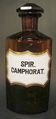 Apothekenflasche SPIR. CAMPHORAT. Braunes modelgeblasenes Glas. Facettiert.