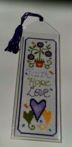 Cross Stitch Bookmark: Faith Hope Love Completed/finished