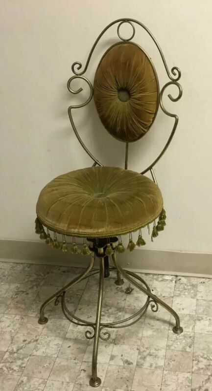VTG MID-CENTURY SWIVEL VANITY BUDOIR CHAIR w/TASSELS BY DELTA METAL INDUSTRIES