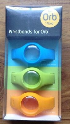 Official Fitbug Wristbands for Orb Blue Green Orange 3 Pack Wrist Bands BNIB
