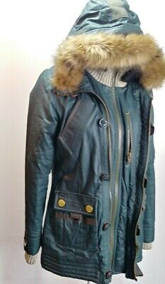 Superdry Limited S Small Jacket Wax Green Winter Coat Womens Flannel Puffer Line