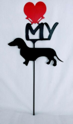 Dachshund Love(heart) Yard Sign Metal Silhouette Made in the USA