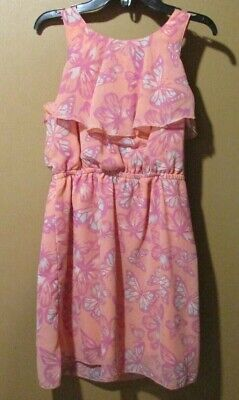 Young Girls Dress (Mudd Dress Young Girls Size 6 sleeveless Pink/coral purple floral)