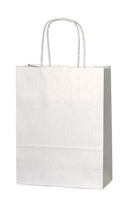 50 x White Paper Bags with Twisted Handle - 22cm x 31cm x 10cm (MEDIUM)