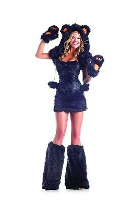Sexy Adult Halloween Women's Deluxe Black Bear Costume w Faux-Fur Leg - Black Bear Halloween Costume
