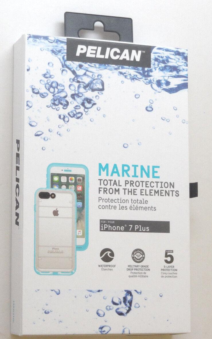 New Pelican Marine iPhone 7 Plus Teal & Clear Waterproof Cas
