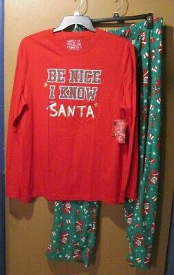 Xmas Pjs For Family (Jammies For Family PJ pajama set Ladies L Be nice I know Santa Christmas)