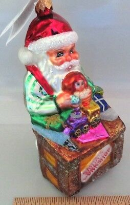 NWT CHRISTOPHER RADKO SANTA'S WORKSHOP w/ TOYS, DOLL, POLAND GLASS XMAS ORNAMENT