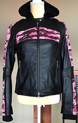 HARLEY DAVIDSON Womens SMALL Camo Vented Leather Jacket W/ Snap-out Hoodie Liner