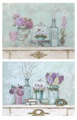2 Cuadros motivo floral tonos frios pastel violeta-azul. 19cm x 25cm cada...