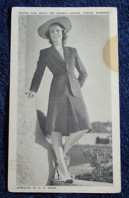 1950'S ADVERTISEMENT POSTCARD FOR SACONY OF PALM BEACH APPROVED BY U S MALES