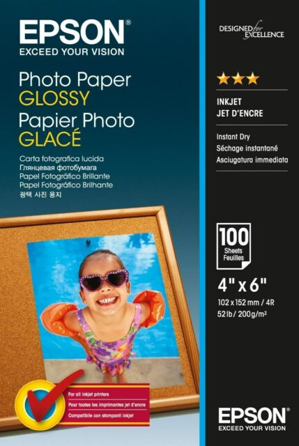 Epson (10 x 15cm) Glossy Photo Paper 200g/m2 (100 Sheets) for Expression Photo