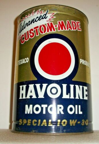 VINTAGE TEXACO ADVANCED SPECIAL10W-30 HAVOLINE MOTOR OIL CAN, CLEAN-5 QT. SIZE !