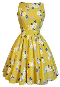 LADY VINTAGE HEPBURN TEA DRESS in 5 DIFFERENT PRINTS *50s ROCKABILLY* SIZE 8-22