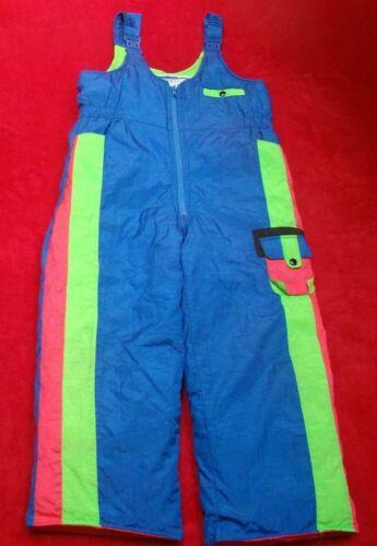 Vintage Giacca Girls Satin Pink Green Blue Color Block Ski Bibs Snow Pants Sz 7