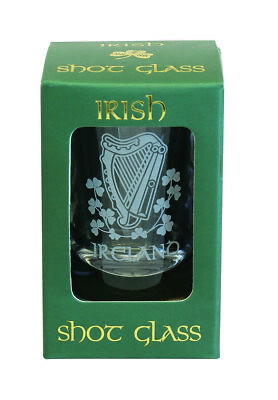 Crystal Shot Glass Frosted etching Harp Shamrock Comes in festive green box