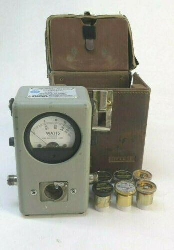 Bird Model 43 Thruline Wattmeter W/ Leather Case and 6 Elements