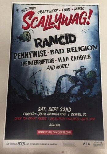 Scallywag! w/ RANCID & Bad Religion 2018 - Fiddlers Denver 11x17 Promo Poster