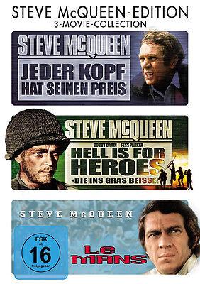 3 DVDs * STEVE MCQUEEN  u.a. Le Mans , Jeder Kopf hat seinen Preis # NEU OVP +