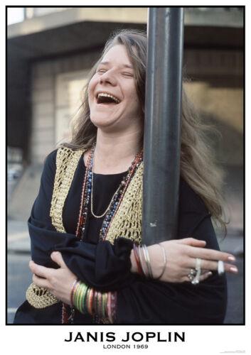 JANIS JOPLIN LAUGHING 1969 LONDON POSTER NEW  !