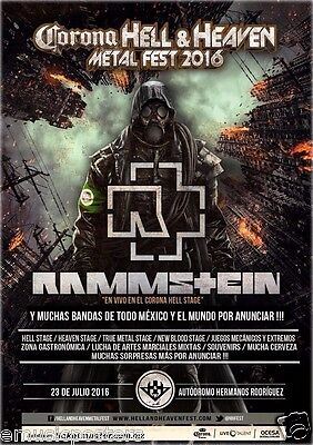 "RAMMSTEIN ""HELL & HEAVEN METAL FEST 2016"" MEXICO CITY CONCERT TOUR POSTER-Metal"