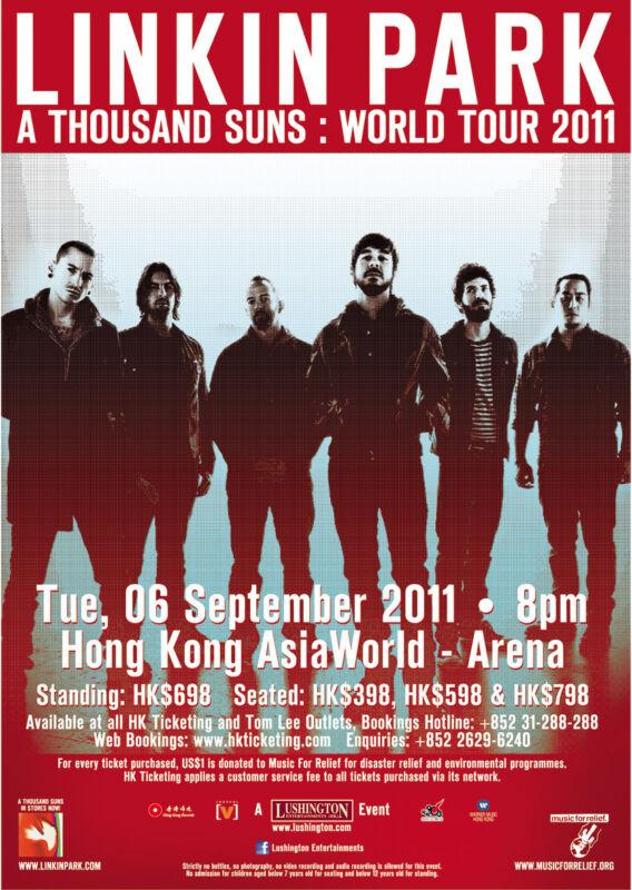 """LINKIN PARK """"A THOUSAND SUNS:WORLD TOUR 2011"""" HONG KONG CONCERT POSTER-Alt. Rock"""