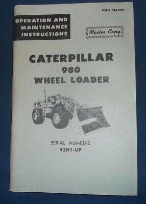 Cat Caterpillar 980 Wheel Loader Operation Maintenance Book Manual Sn 42h1-up