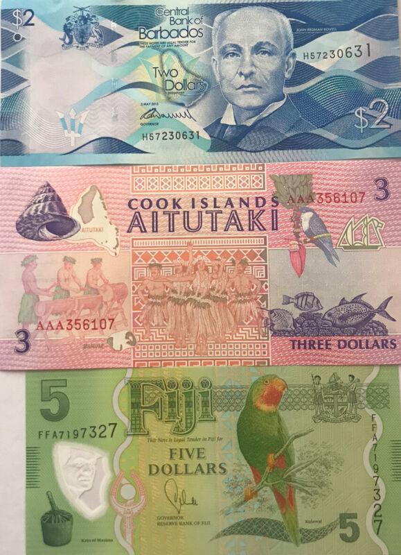 Set 3 Island Banknote Of Fiji 5,cook Island 3, barbados 2 UNC Currency