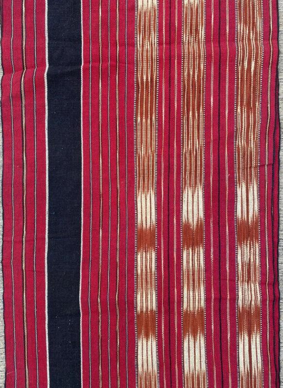 Ikat Fabric Vintage Textile Runner RED BLACK Handwoven ethnic