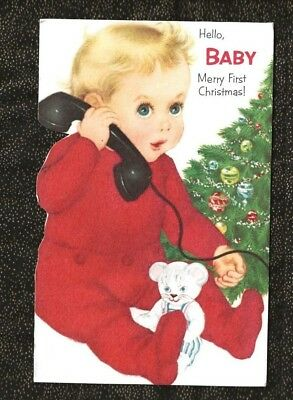 Babys First Christmas Card - NORCROSS BABY'S FIRST Christmas Card Flocked Pajamas TALKING ON TELEPHONE