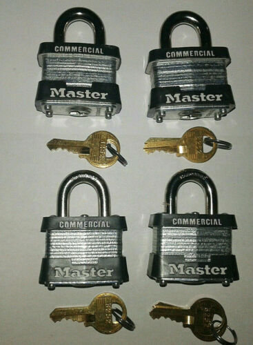 Commercial Grade Master lock Pad Locks Solid Steel (Keyed Same) (4Pak)