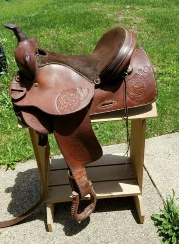 "Sandstone Western Leather Floral tooled Trail Barrel Pleasure horse saddle 15.5"""