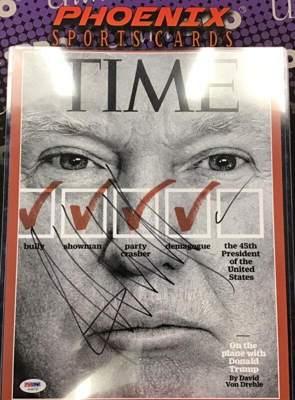 President Donald J Trump Autograph Signed 11x14 Photo TIME Cover PSA LOA Rare