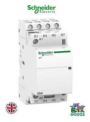 25 amp contactor 4 pole normally closed 220 - 240V coil 25A Schneider iCT New