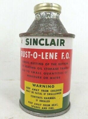 Full NOS 4oz SINCLAIR Refining OIL RUST O LENE cone top tin can New York dino