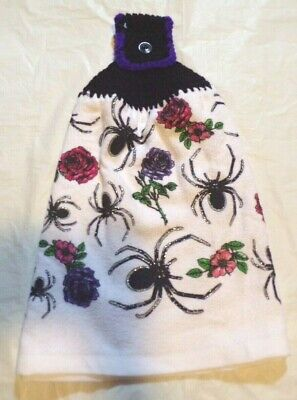 KITCHEN/HAND/DISH TOWEL WITH CROCHETED TOP FOR HANGING/HALLOWEEN SPIDER/ROSES