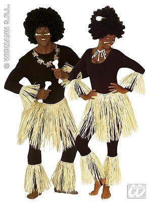 Afrika,5-tlg.Zulu Set, Bastrock Arm- u. Beinkleid Kostüm,Karneval Damen Herren