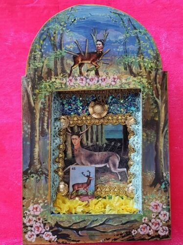 Frida Kahlo deer shadow box wall hanging nicho folk art diorama shrine retablo