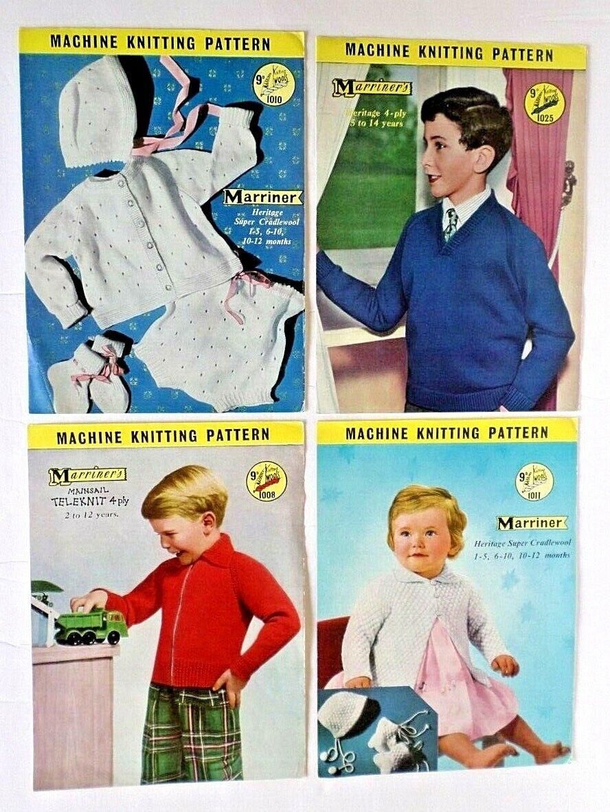 4 Vintage 1950 s Marriner s Knitting Machine Patterns 1008,1010,1011,1025 Kids - $6.45